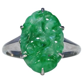 Vintage Carved Jade White Gold Ring