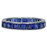 Art Deco French Sapphire Eternity Band Ring  Engraved Platinum