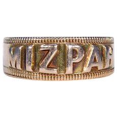 Victorian Mizpah Gold Band Ring Hallmarked 1884