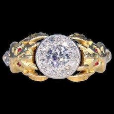 Antique Gold Diamond Cluster Demon Ring Ruby Eyes