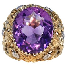 Antique Gold Amethyst Ring Floral Motif