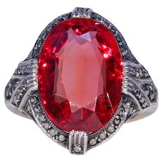 Art Deco Red Stone Marcasite Dress Ring Silver and Gold