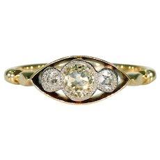 Antique Edwardian 3 Diamond Ring 18k Gold