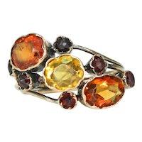 Antique Victorian Citrine Garnet Ring in 15k Gold