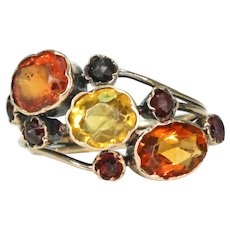 Antique Victorian Citrine Garnet Ring in 15k Gold