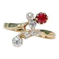 Antique Art Nouveau Diamond Ruby Ring