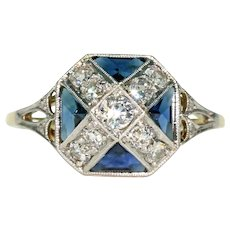 Unusual X Shaped Edwardian Sapphire Diamond Ring