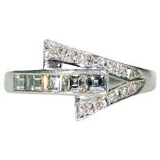 Art Deco Platinum Diamond Ring Wedding Band