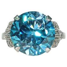 Large Art Deco Blue Zircon Diamond Ring