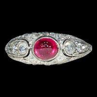 Austrian Art Deco Platinum Diamond Cabochon Ruby Ring