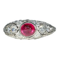 Austrian Art Deco Platinum Diamond Cabochon Ruby Ring