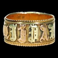 Antique Victorian Mizpah Band Ring 3 Color 18k Gold Hallmarked 1881