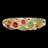 Antique Edwardian Ruby Diamond Demantoid Garnet Ring