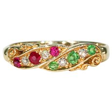 Antique Edwardian Ruby Diamond Demantoid Garnet Ring