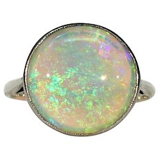 Antique Edwardian Round Opal Ring