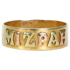 Antique Victorian 3 Color Gold Mizpah Ring Band