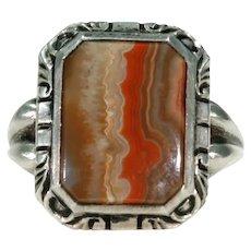 Vintage Art Deco Men's Agate Silver Ring