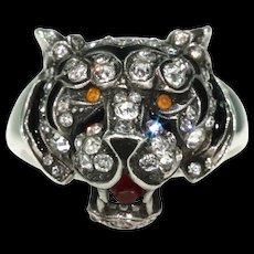 Antique Knoll & Pregizer Tiger Head Ring Paste Enamel