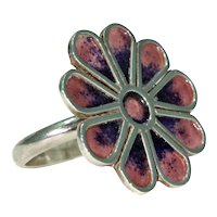 Vintage Norman Grant Purple Enamel Flower Ring Silver