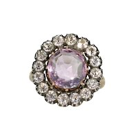 Antique Amethyst Paste Gold Cluster Ring Victorian