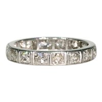 Old European Cut Diamond Eternity Band Ring Size 7.5
