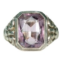 Vintage Large Amethyst Silver Ring