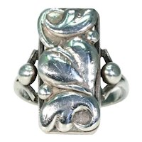 Stylish 1950s Vintage Danish Silver Leaf Ring