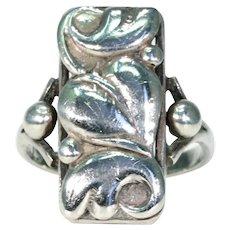 Stylish 1950s Vintage Danish Silver Leaf Ring