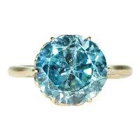 Vintage Blue Zircon Ring 18k Gold