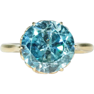 Vintage Blue Zircon Ring 18k Gold