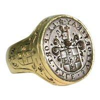 Huge Georgian Mens Signet Ring Intaglio Silver Gold