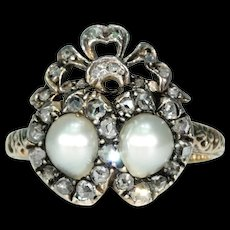 Antique French Double Heart Pearl Diamond Ring