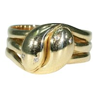 Antique Double Snake Ring Diamond Eyes Hallmarked 1900