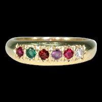 Antique REGARD 18k Gold Ring Ruby Emerald Garnet Amethyst Diamond