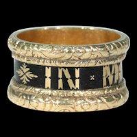 Victorian Black Enamel 'In Memory Of' Memorial Band Ring
