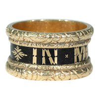 Victorian Black Enamel 'In Memory Of' Memorial Band Ring