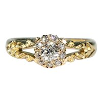 Antique Diamond Cluster Ring 18k Gold Hallmarked 1899