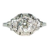 Very Fine Art Deco Platinum Diamond Engagement Ring .8ct Center