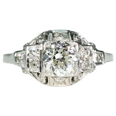 Very Fine Art Deco Platinum Diamond Engagement Ring .8ct Center