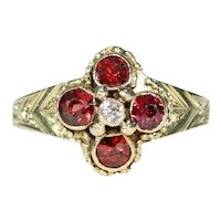 Mid Victorian Garnet Diamond Gold Ring