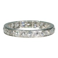 Antique Art Deco 1.5 cttw Diamond Eternity Band Ring Sz 7