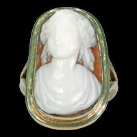 Antique Lovely Lady Cameo Ring Silver Gilt Frame