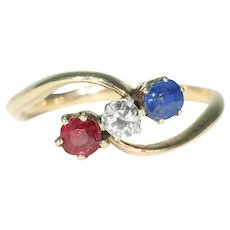 Antique Ruby Diamond Sapphire Bypass Ring 14k Gold