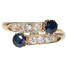 Victorian Sapphire Diamond By-Pass Ring 18k Gold