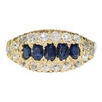 Antique Sapphire Diamond Boat Ring 18k Gold