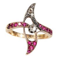 Antique Ruby and Diamond Art Nouveau Ring in 18k Gold