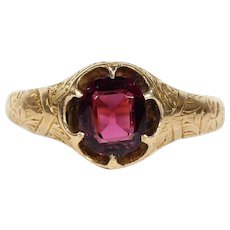 Antique Victorian Garnet Ring with Lovely Engraving in 15k Gold