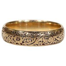 Antique Engraved Wedding Band Ring 18k Gold Hallmarked 1902