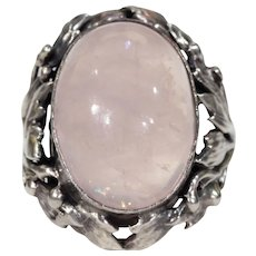 Antique Silver Pink Quartz Arts & Crafts Ring