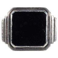 Vintage Art Deco Onyx Silver Ring Gentleman's Ring